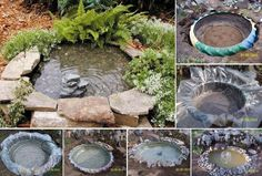 Use an old tractor tire as the base for a simple backyard pond. via Useful DIY