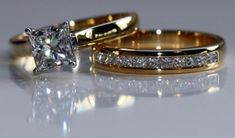 Channel set Princess Cut Wedding Band and Princess Cut Solitaire Engagement Ring set.