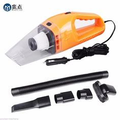 Black Portable Car Vacuum Cleaner Wet and Dry Dual Use With Power 120W 12V 5 Meters Cable Super Absorb