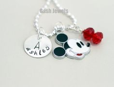 Mickey Mouse Hand Stamped Sterling Silver Necklace...I have something like this with little dude's name, so all I have to do is add a Mickey & bead charm to it!