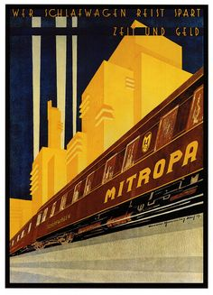 1929 - Mitropa was a catering company best known for having managed sleeping and dining cars of different German railways for most of the century. Art Deco Illustration, Illustrations, Train Posters, Railway Posters, Vintage Advertisements, Vintage Ads, Vintage Stuff, Poster Ads, Poster Prints