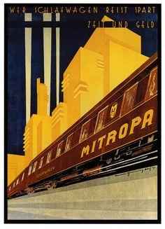 """'Wer Schlafwagen Reist Spart, Zeit Und Geld'-""""Mitropa""""-, (1929), Size: 102 x 63,5 cm.  -  Deco Design Poster  by Walter Hemming (b.1894 - d.1979, Germany)  ~  Original Vintage Deco Travel Poster."""