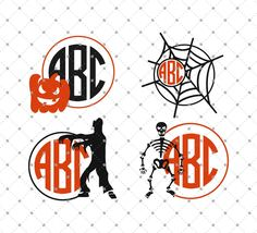 Halloween Monogram Frames SVG Cut Files for Cricut and silhouette.