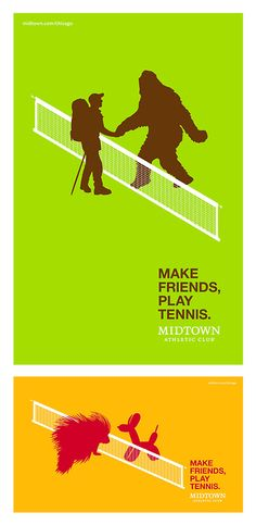 Make Friends, Play Tennis creative advertising for Midtown Athletic Club, Chicago by Real Art, NY USA