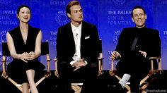 We had a wrap night party on Friday and we had a reel playing all the bloopers and its pretty much Cait swearing, laughing … When she's drunk. -Sam Look at Tobias expression! He's like oh-oh, I can't believe he said that. Then Sam feels bad and has to give Cait a hug.