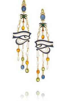 Percossi Papi Eye of Horus earrings with kyanite, amber, moonstone, peridot, and pearls