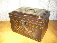 "Large Toleware Document Box with Japanned and Stenciled Finish ~ from ""Granny Mare's"" shop on Ruby Lane"