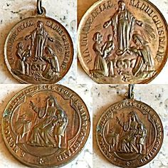 Very Rare, Large, antique religious medal featuring Saint Monica with the child St. Augustine, Monica is the Patron saint of mothers and children. The front reads in Italian: S. Monica protettrice spose e madri Cristiane which translates to: Protector of Christian wives and mothers. The back features the Blessed Mother Virgin Mary as Our Lady of Grace and miracles and reads in Italian: pia unione delle madri cristiane which translates to pious union of Christian Mothers.