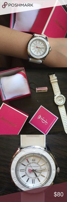 White Juicy Couture watch beautiful juicy couture watch with a white silicone strap and silver detailing. only worn twice, so it's in great condition! 100% authentic with original tags, pillow, box, and service guide. Juicy Couture Accessories Watches
