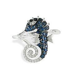 White Gold Seahorse Ring with Sapphires and Diamonds - Rings - Jewelry Type