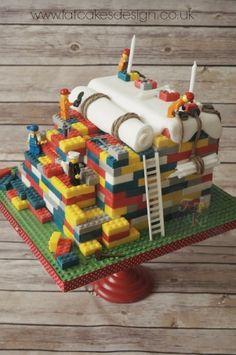 lego construction cake back
