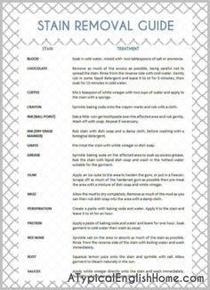 thorough Free Printable Stain Removal Guide for Laundry! This is Amazing and list every stain Imagenable with it's simple solution! I have mine hung in our Laundry room AND use it over and over! Deep Cleaning Tips, Cleaning Hacks, Organizing Tips, Diy Cleaning Products, Cleaning Solutions, Cleaning Painted Walls, Laundry Hacks, Laundry Rooms, Ocd