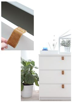 Simple but gorgeous Malm hack. 10 Rooms: trending: leather drawer pulls and door handles