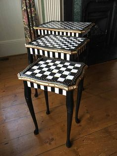 Chequered Black & White Hand Painted Nest of Tables - antique Queen Anne style nest of three mahogany tables having carved moulded edges with tooled inset leather top and raised up on acanthus caped cabriolet legs. Whimsical Painted Furniture, Painted Chairs, Hand Painted Furniture, Funky Furniture, Refurbished Furniture, Paint Furniture, Repurposed Furniture, Furniture Projects, Furniture Makeover