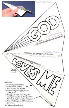 Paper airplane, God loves me: A- Accept . Sunday School Crafts For Kids, Bible School Crafts, Bible Crafts For Kids, Sunday School Activities, Preschool Bible, Bible Lessons For Kids, Bible Activities, Kids Sunday School Lessons, Jesus Crafts