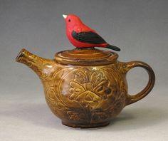 red bird teapot, 18 x 18 cm