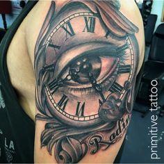 Clock by Bobbi @ Primitive Tattoo Studio Perth on 126 Barrack street Perth. (08) 9 221 8585 / 0488 828 866 tattoo@primitivetattoo.com www.primitivetattoo.com