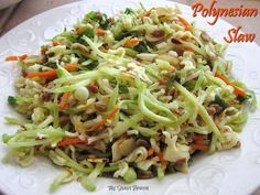 Polynesian slaw...tangy, crunchy goodness! Love to make this with BBQ dishes.  #recipe #easytomake #sidedish