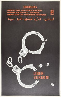 Political Prisoners in Uruguay Cuban Poster by Rafael Enriquez | OSPAAAL 1980