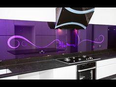 Arabic Purple Magic by Creoglass Design Modern Kitchen Glass Splashbacks 01923 819 684 Door Design Interior, Kitchen Interior, Kitchen Design, Interior Decorating, Kitchen Ideas, Decorating Ideas, Purple Kitchen, Kitchen Colors, Beautiful Kitchens