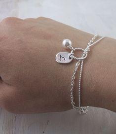 Personalized Bridesmaids Bracelet, Swarovski Pearl Jewelry Silver charm Maid of…