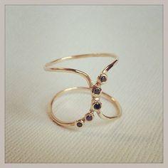 14k and black diamond Doric Ring