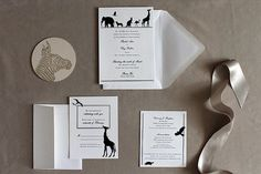 Elegant Zoo wedding invitation - silhouettes customize with your pet Safari Wedding, Safari Theme Party, Wedding Pics, Wedding Cards, Our Wedding, Wedding Venues, Dream Wedding, Wedding Ideas, Prom Ideas