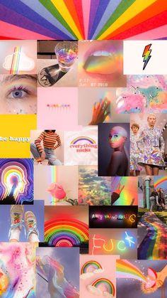 Mood Wallpaper, Rainbow Wallpaper, Pink Wallpaper Iphone, Iphone Wallpaper Tumblr Aesthetic, Iphone Background Wallpaper, Retro Wallpaper, Colorful Wallpaper, Wallpaper Tumblrs, Collage Mural