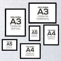 Molduras A5, A4 ou A3 - Com vidro - Decohouse