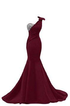 2017 new long Sexy burgundy Prom Dress sexy one shoulder Prom Dress ,mermaid Handmade beaded sleeveless Prom Dress