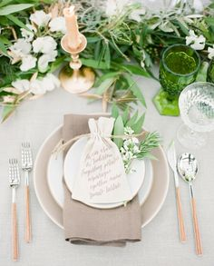A fresh green and neutral spring wedding palette with ethereal botanical flowers, wrapping vines, and a hint of metallic from gold details! Reception Decorations, Table Decorations, Reception Ideas, Wedding Reception, Wedding Venues, Neutral, Spring Wedding Colors, Wedding Place Settings, Wedding Places