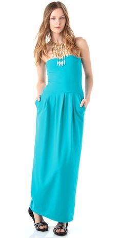 Susana Monaco Tube Pleat Strapless Maxi Dress, without the necklace
