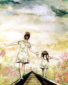 Madre e hija nuestro camino lámina con rosas por claudiatremblay