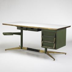 Gio Ponti, Steel and Brass Desk for Rima, 1955.