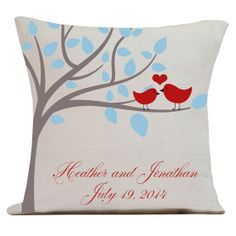 Personalized LOVE Wedding Pillow Cotton Anniversary Gift Cotton and Burlap Pillow Cover Choose your Date on Etsy, $35.00