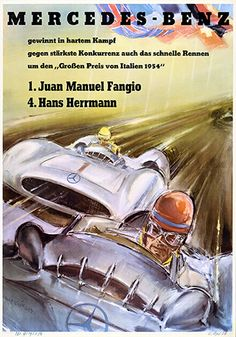 Swiss Grand Prix, 1954. First and third for the 2.5-litre, in-line 8-cylinder Mercedes-Benz on 22 August 1954. This was the last grand prix raced at Bremgarten (Bern).