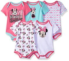 DISNEY 5 Gorgeous Little MINNIE MOUSE Short Sleeve Bodysuits NEW in PACK