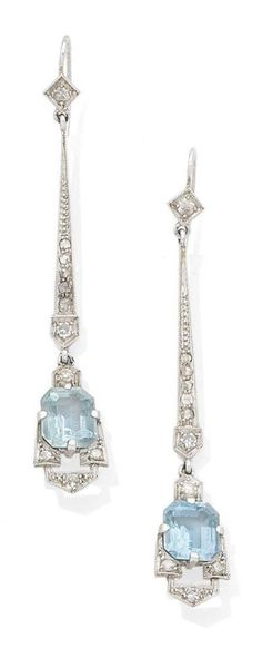A pair of early Art Deco diamond and aquamarine pendent earrings, circa Each step-cut aquamarine within an openwork geometric surround, suspended from a tapering surmount, millegrain-set throughout with single and rose-cut diamonds, later post fitti Or Antique, Antique Jewelry, Vintage Jewelry, Vintage Brooches, Art Deco Jewelry, Fine Jewelry, Jewelry Design, Jewellery Box, Jewellery Shops