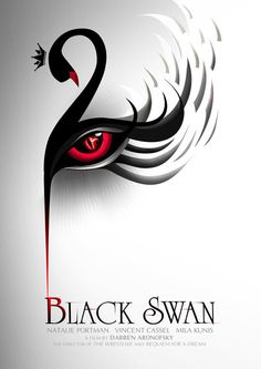 Amy - This poster design for 'Black Swan' creates an idea of constrained visual language. The pictogram of the black swan is simply formed, the meaning of evil and darkness is added to the swan by applying a red eye on its body. The shape of the eye collaborates well with the swan in terms of angle and shape. Designer only used simple colors, which are black and red, to create contrast and enhance the feeling of evilness.