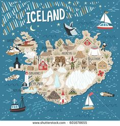Vector stylized map of Iceland. Travel illustration with Iceland landmarks, people, animals and nature places