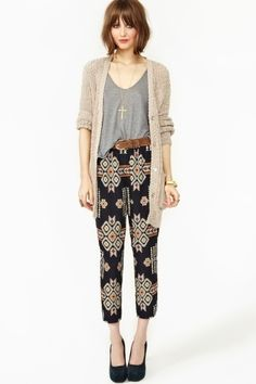 Loose Cardi's and printed harem pants.