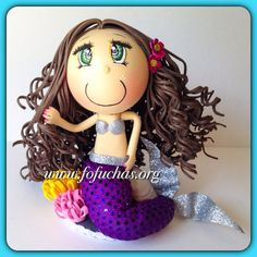 Mermaid Fofucha Crafty Foam Doll by CrochetNFofuchas on Etsy #Little Mermaid #Princess #Birthday