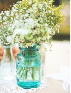 flowers + vase (but not that teal color)