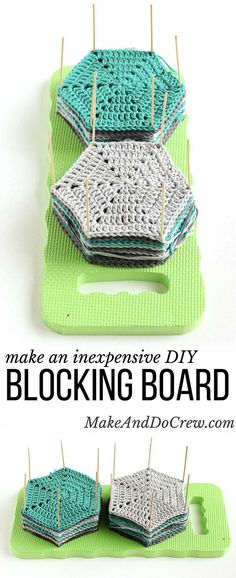 Learn how to block crochet or knit hexagons or granny squares with this incredibly easy and inexpensive DIY blocking board (made from a garden kneeling pad!) Click for full tutorial. | http://MakeAndDoCrew.com