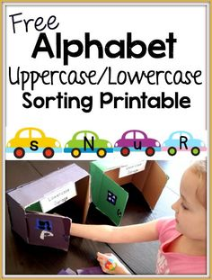 FREE Alphabet Sorting Activity for uppercase and lowercase letters. Check out what we made to sort the 'cars' into!