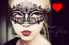 Luxury Black Laser Cut Venetian Mardi Gras Masquerade Mask with Sparkling Rhinestones - Made with Light Metal