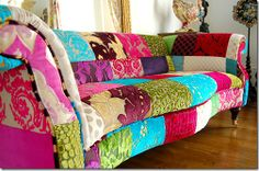 love the idea of re-upholstering boat sofa patchwork style. Funky Furniture, Unique Furniture, Painted Furniture, Repainting Furniture, Furniture Design, Patchwork Chair, Sofa Colors, Soft Furnishings, Decoration