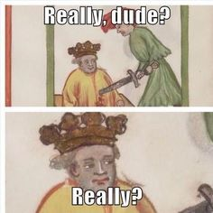 "Fresh memes are the best memes. These will make you at the very least say to yourself ""lol"". If all we can do is make your day better with these funny memes then our work is done. Enjoy this gallery of fresh memes you won't see on any other site. Memes Arte, Classical Art Memes, Medieval Memes, Medieval Art, Medieval Reactions, Renaissance Art, Funny Art, Funny Memes, Hilarious"