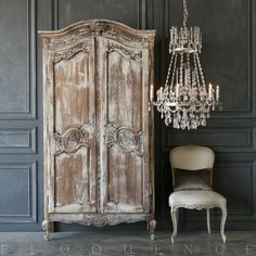 Charming Eloquence antique French armoire with four shelves and arched top. This armoire id delicately carved with a floral design. Functional doors and key Armoire Makeover, Furniture Makeover, French Decor, French Country Decorating, French Interior, Shabby Chic Furniture, Shabby Chic Decor, Distressed Furniture, Palette Deco