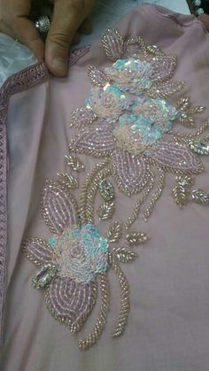 Tulle hand-embroidered using velvet and satin applique work in glorious summer colors Zardozi Embroidery, Embroidery On Kurtis, Hand Embroidery Dress, Tambour Embroidery, Bead Embroidery Patterns, Couture Embroidery, Bead Embroidery Jewelry, Silk Ribbon Embroidery, Hand Embroidery Designs